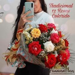Tradicional 12 rosas Coloridos
