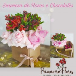 Surpresa de rosas com chocolate