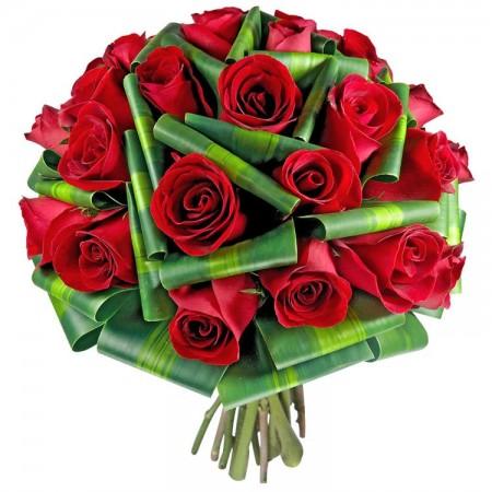 Buquê de Noiva Redondo de Rosas Vermelhas
