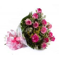 Buquê Amore Rosa Pink c/ 12 Rosas