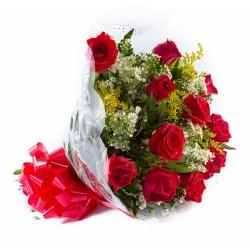Buquê de Rosas Vermelhas Tradicional c/ 12 Rosas